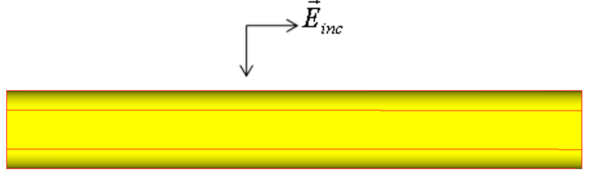 A cylinder is shown with the incident E-field polarization vector